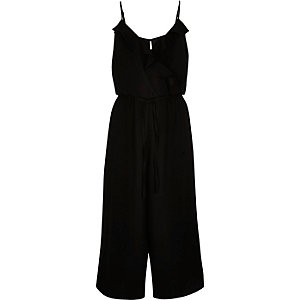 Black frilly wrap front culotte jumpsuit