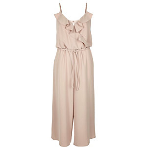 Light pink frilly wrap front culotte jumpsuit