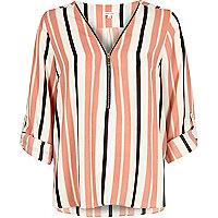 Pink stripe zip-up blouse