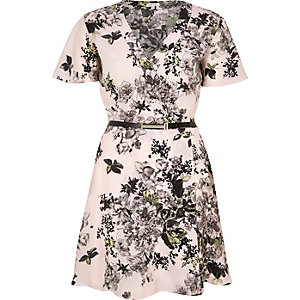 Pink floral print belted wrap dress