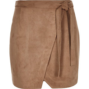Brown faux suede wrap mini skirt