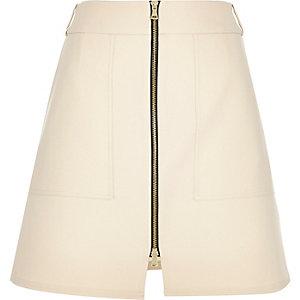 Cream zip through A-line skirt