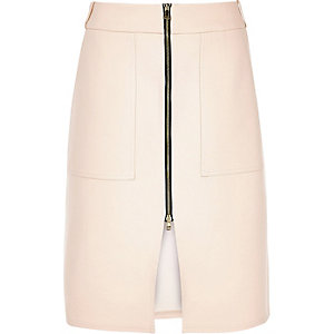 Light pink zip-up skirt