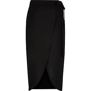 Black woven wrap midi skirt