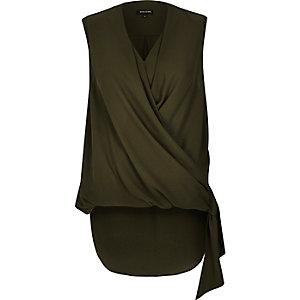 Khaki wrap front side tie blouse