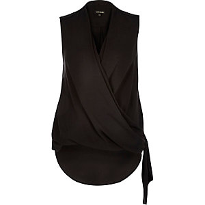 Black wrap front tie side blouse