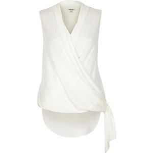 Cream wrap front tie side blouse