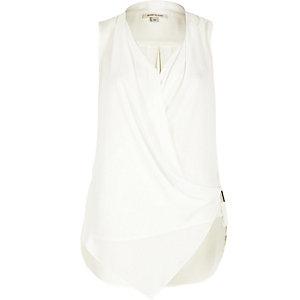 Cream asymmetric blouse