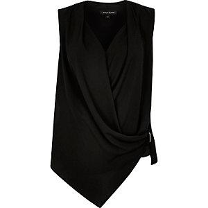 Black asymmetric blouse