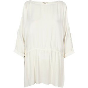 White loose cold shoulder t-shirt
