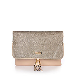 Gold fold over clutch bag