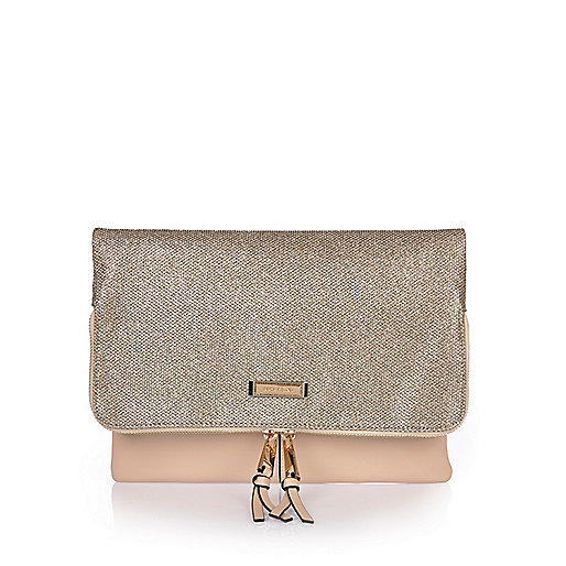 Gold fold over clutch bag