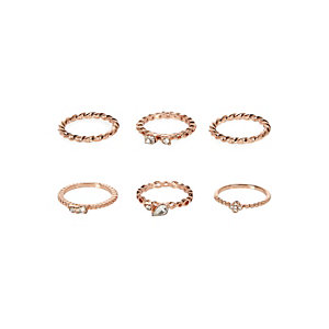 Rose gold embellished rings pack