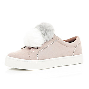 Light pink pom pom sneakers