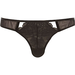 Black piped lace knickers