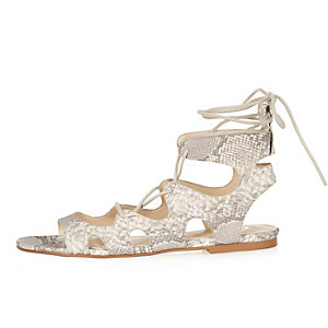 Beige snake print lace-up sandals
