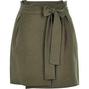 Khaki tie waist wrap mini skirt