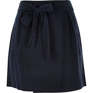 Navy tie waist wrap mini skirt