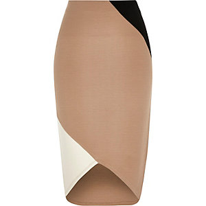 Beige block jersey pencil skirt