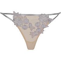 Grey mesh floral appliqué knickers