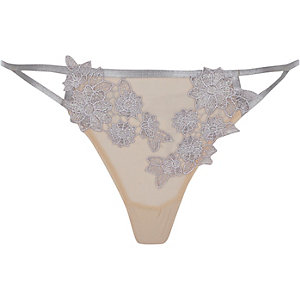 Grey mesh floral appliqué knickers