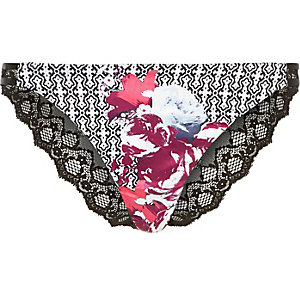 Pink floral print lace knickers