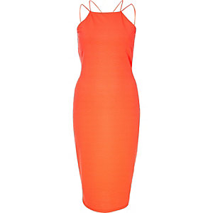 Coral jacquard strappy bodycon dress