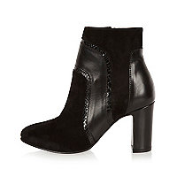 Black suede patchwork heeled ankle boots