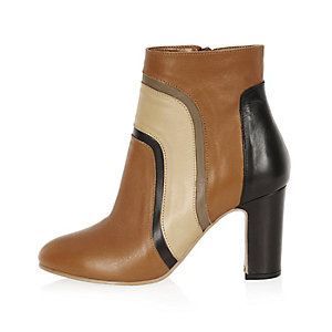 Brown leather patchwork heeled ankle boots