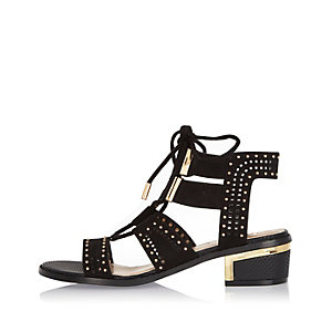 Black lace-up block heel sandals