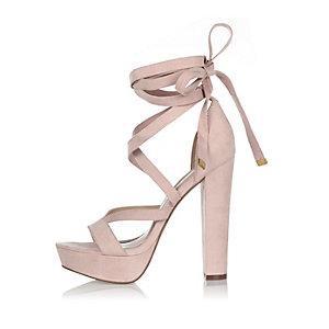 Pink tie-up platform heels