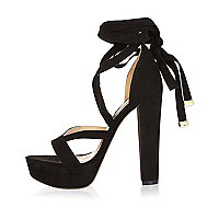 Black tie-up platform heels
