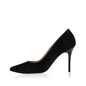 Black suede pointed mid heel pumps