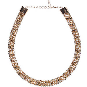 Gold tone twisted embellished rope necklace