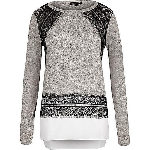Grey lace insert longline top