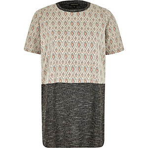 Grey diamond block panel oversized t-shirt