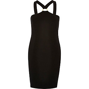 Black D-ring bodycon mini dress