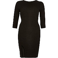 Black ribbed bodycon mini dress