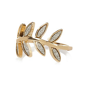 Gold tone glitter leaf ring