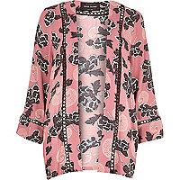 Pink floral print kimono jacket