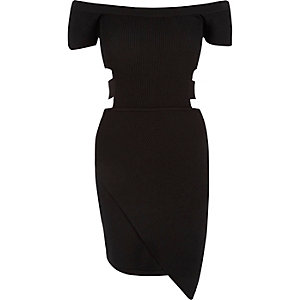Black cut-out bardot dress