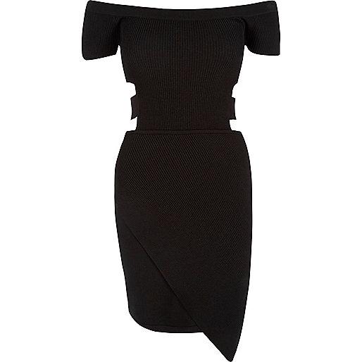 Black cut-out bardot dress