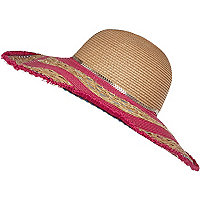 Pink frayed floppy hat