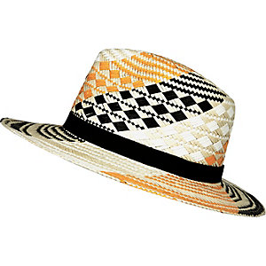 Orange patterned straw fedora hat