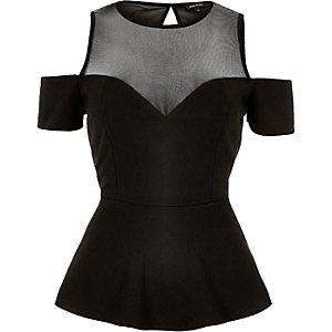 Black mesh cold shoulder peplum top