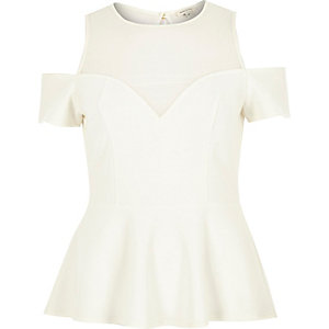 White mesh cold shoulder peplum top