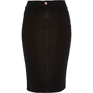 Washed black denim pencil skirt