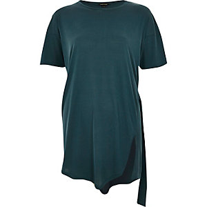 Green slim tie side t-shirt