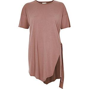 Pink slim tie side t-shirt
