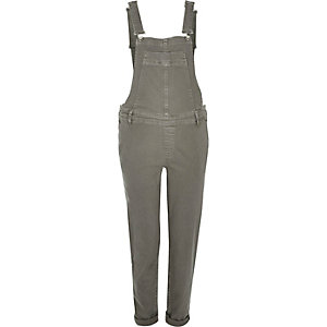 Green denim slim leg overalls